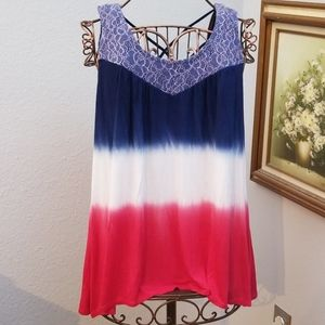 Red white & blue tank top lace detail size Medium